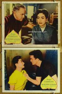z071 AUTUMN LEAVES 2 movie lobby cards '56 Joan Crawford, Robertson