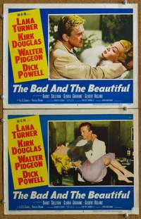 z072 BAD & THE BEAUTIFUL 2 movie lobby cards '53 2 great Turner scenes!