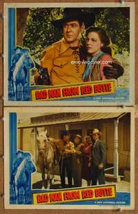 z073 BAD MAN FROM RED BUTTE 2 movie lobby cards '40 Johnny Mack Brown