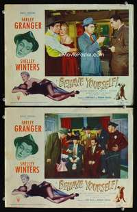 z091 BEHAVE YOURSELF 2 movie lobby cards '51 Alberto Vargas border art!