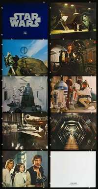 d028 STAR WARS 9 color 11x14 movie stills '77 includes title card!