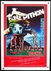 d062 MONTY PYTHON LIVE AT THE HOLLYWOOD BOWL linen English one-sheet movie poster '82