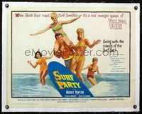 d047 SURF PARTY linen half-sheet movie poster '64 Bobby Vinton, Patricia Morrow