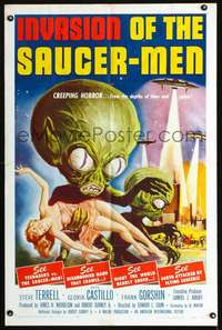 d001 INVASION OF THE SAUCER MEN one-sheet movie poster '57 AIP classic sci-fi!