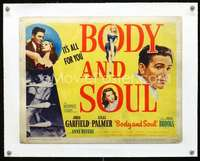 d033 BODY & SOUL linen title lobby card movie poster '47 boxing John Garfield!