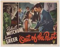 d032 OUT OF THE PAST #6 signed lobby card movie poster '47 by Mitchum & Greer!