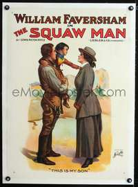 d056 SQUAW MAN linen stage play poster 1907 Faversham