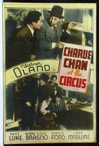 f024 CHARLIE CHAN AT THE CIRCUS Forty by Sixty movie poster '36 Warner Oland