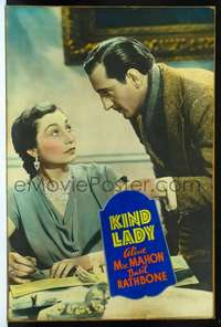 f026 KIND LADY Forty by Sixty movie poster '35 Basil Rathbone huge close up!