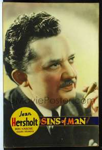f027 SINS OF MAN Forty by Sixty movie poster '36 Jean Hersholt c/u with cigar!