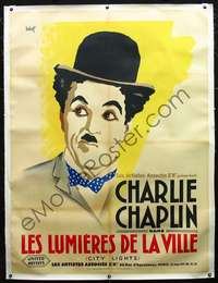 f042 CITY LIGHTS linen French one-panel movie poster '31 Chaplin by Bobet!