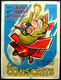 f044 FLYING DEUCES linen French one-panel movie poster R50s best Seguin art!
