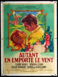 f045 GONE WITH THE WIND linen French one-panel movie poster R55 Soubie art!
