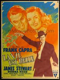f041 IT'S A WONDERFUL LIFE linen French one-panel movie poster '46 different!