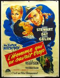 f046 MAN WHO KNEW TOO MUCH linen French 1p R50s Hitchcock, art of Jimmy Stewart & Doris Day by Grinsson!