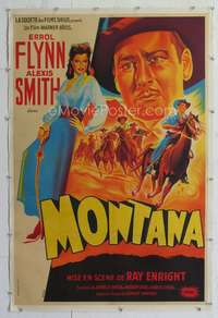 f055 MONTANA linen French 31x47 movie poster '50 Flynn by Belinsky!