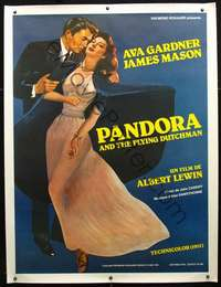 f054 PANDORA & THE FLYING DUTCHMAN linen French one-panel movie poster R81