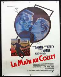 f048 TO CATCH A THIEF linen French one-panel movie poster R80s Hitchcock