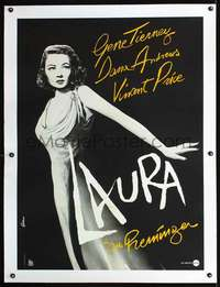 f057 LAURA linen French 31x41 movie poster R80s Tierney by Goldman!