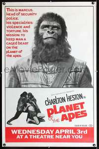 f002 PLANET OF THE APES 29x45 subway movie poster '68Marcus!