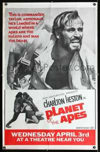 f001 PLANET OF THE APES 29x45 subway movie poster '68 Heston