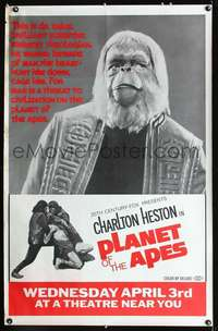f003 PLANET OF THE APES 29x45 subway movie poster '68 Dr. Zaius!