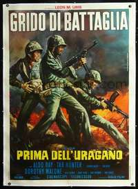 f073 BATTLE CRY linen Italian one-panel movie poster R60s Piovano WWII art!