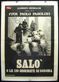 f067 120 DAYS OF SODOM linen Italian two-panel movie poster '76 Pasolini