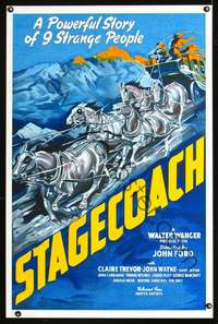 f035 STAGECOACH S2 re-creation one-sheet movie poster 2000 classic western!