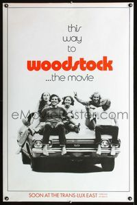 f004a WOODSTOCK ultra-rare teaser one-sheet movie poster '70 classic rock & roll concert!