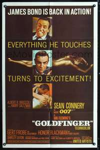 h380 GOLDFINGER one-sheet movie poster '64 Sean Connery is James Bond 007!