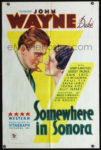 h617 SOMEWHERE IN SONORA one-sheet movie poster '33 great art deco image of John Wayne!