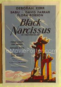 p057 BLACK NARCISSUS English one-sheet movie poster '47 Powell & Pressburger, Deborah Kerr