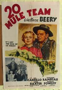 t003 20 MULE TEAM style C one-sheet movie poster '40 Wallace Beery, Leo Carillo