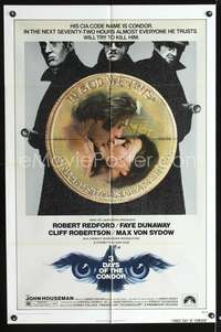t004 3 DAYS OF THE CONDOR one-sheet movie poster '75 Robert Redford, Faye Dunaway