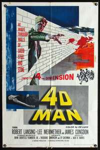 t007 4D MAN one-sheet movie poster '59 Robert Lansing walks through walls of solid steel and stone!