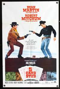 t008 5 CARD STUD one-sheet movie poster '68 cowboys Dean Martin & Robert Mitchum play poker!