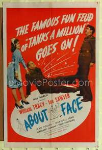 t011 ABOUT FACE one-sheet movie poster '42 Hal Roach, Tanks a Million!