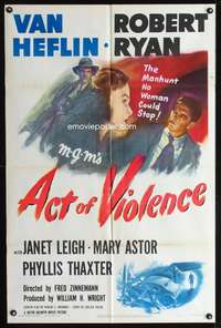 t013 ACT OF VIOLENCE one-sheet movie poster '49 Fred Zinnemann, Janet Leigh, Van Heflin, Robert Ryan