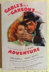 t014 ADVENTURE rare style D one-sheet movie poster '45 artwork of Clark Gable, Greer Garson!