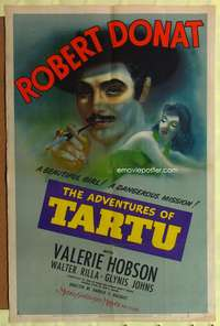 t015 ADVENTURES OF TARTU style C one-sheet movie poster '43 cool different art of Robert Donat!