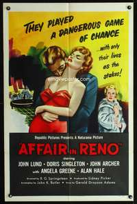 t016 AFFAIR IN RENO one-sheet movie poster '57 they played a dangerous game of chance!