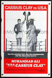t002 A.K.A. CASSIUS CLAY int'l one-sheet movie poster '70 boxing Muhammad Ali & Statue of Liberty!