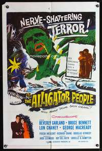 t018 ALLIGATOR PEOPLE one-sheet movie poster '59 Beverly Garland, Lon Chaney, sci-fi horror!