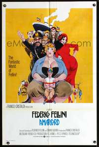 t020 AMARCORD int'l one-sheet movie poster '74 Federico Fellini classic, great Juliano Geleng art!