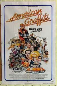 t021 AMERICAN GRAFFITI one-sheet movie poster '73 George Lucas teen classic!