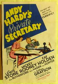 t022 ANDY HARDY'S PRIVATE SECRETARY style D one-sheet '41 Mickey Rooney, first Kathryn Grayson!
