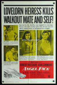 t023 ANGEL FACE one-sheet movie poster '53 Robert Mitchum, sexy Jean Simmons, Otto Preminger