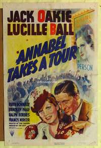 t024 ANNABEL TAKES A TOUR one-sheet movie poster '38 Lucille Ball, Jack Oakie