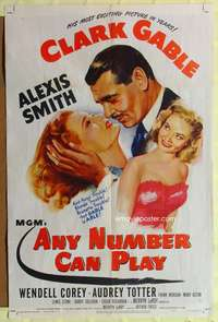 t026 ANY NUMBER CAN PLAY one-sheet poster '49 Clark Gable loves Alexis Smith AND Audrey Totter!